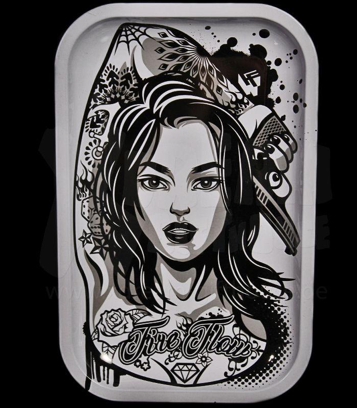 Metall-Drehtablett | Tattoo Girl |  27,5 x 17,5 x 2,5cm