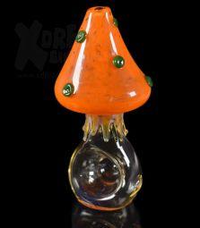 Handmade | Glaspfeife | Pilz | 10,5cm | Orange | Einzelstück