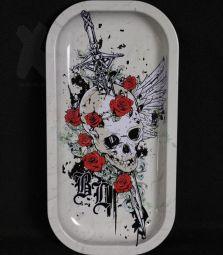 Metall-Drehtablett | Skull & Roses | 206 x 105 x 18mm